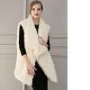 30%de discount sur White Faux Fur Jacket Women's Turndown Collar Open Front Sleeveless Longline Coat