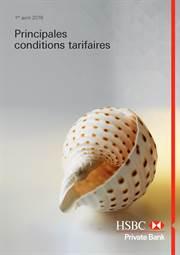 Principales conditions tarifaires - Private Bank