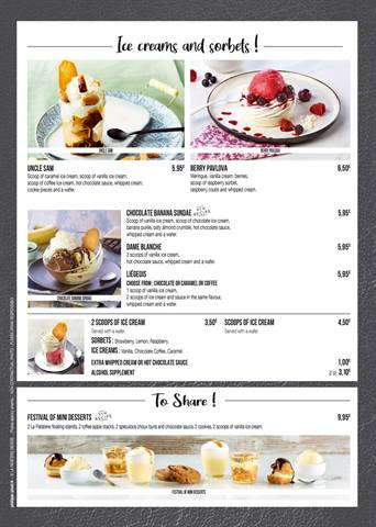 Desserts and Children's Menu