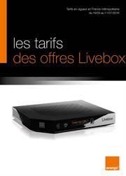 Les tarifs des offres Livebox